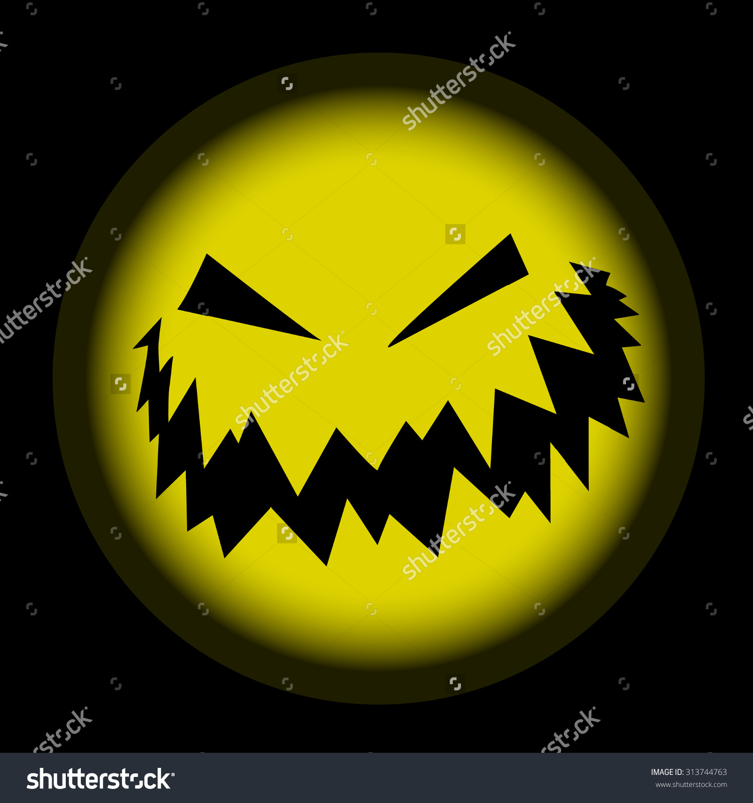 The Ominous Silhouette Of Pumpkins With Carved Teeth And Eyes.