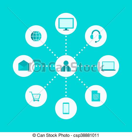 Vector Clip Art of Omni, Multi Channel, E.
