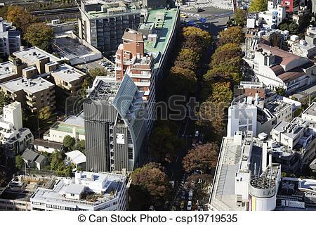Stock Photos of Aerial view of Omotesando areas csp19719535.