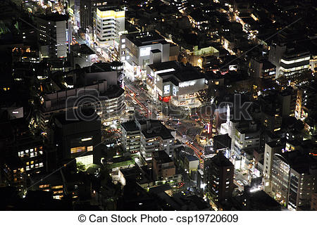 Stock Photography of Aerial view of Omotesando areas csp19720609.