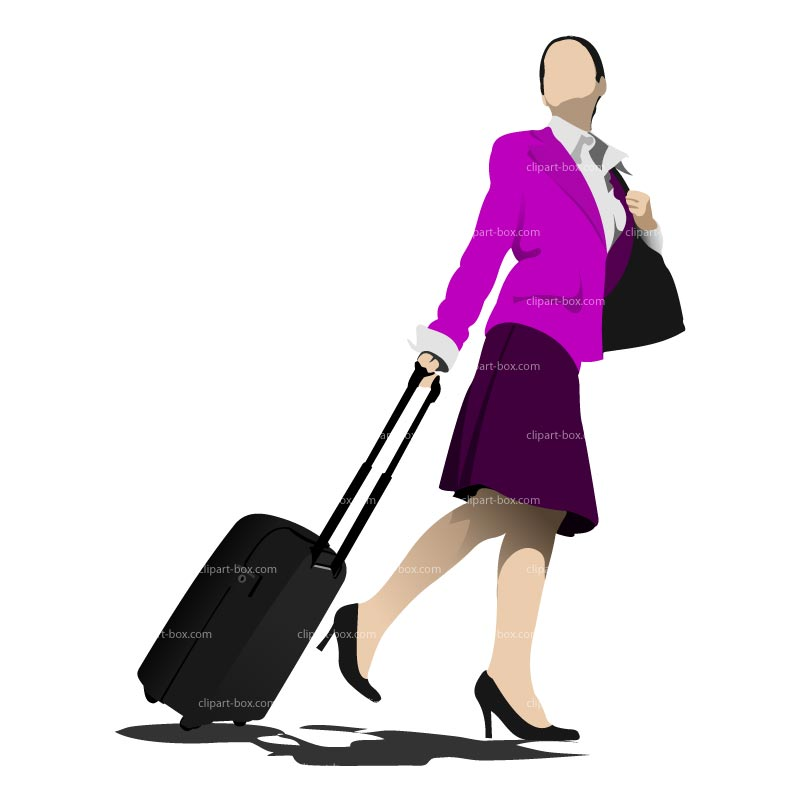 CLIPART WOMAN WITH SUITCASE.