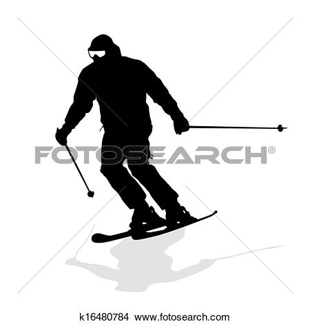 Clipart of Mountain skier speeding down slope. Vector sport.
