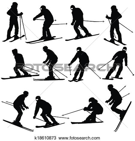 Clipart of Mountain skier man speeding down slope. Vector sport.