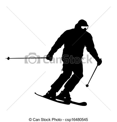 EPS Vector of Mountain skier speeding down slope. Vector sport.