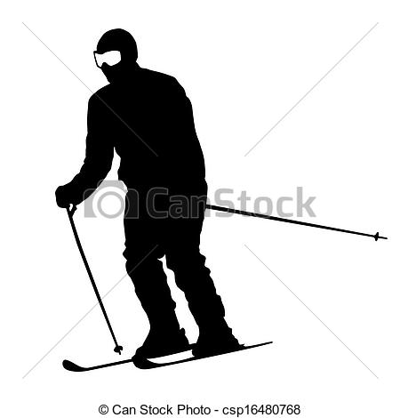 Clip Art Vector of Mountain skier speeding down slope. Vector.