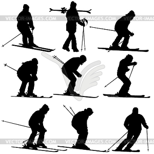 Set mountain skier speeding down slope. sport.