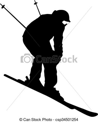 Clipart Vector of Mountain skier speeding down slope. Vector sport.