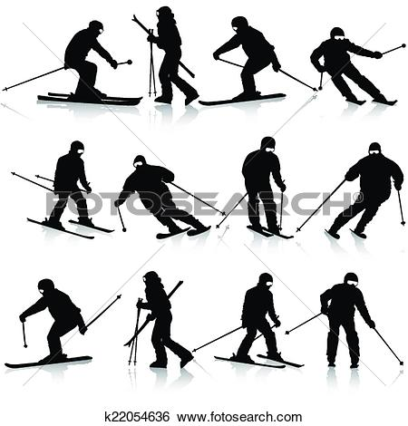 Clip Art of Mountain skier man speeding down slope. Vector sport.