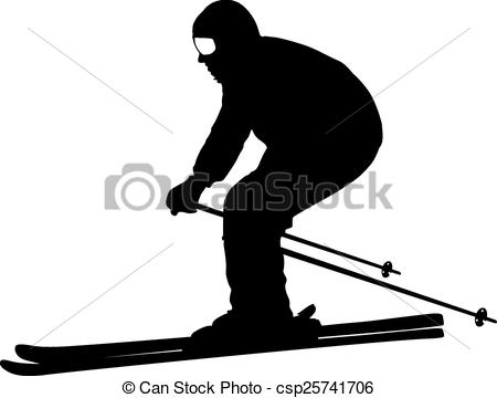 Vector Clipart of Mountain skier speeding down slope. Vector sport.