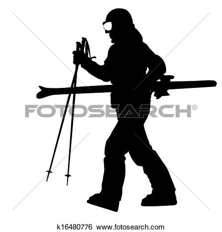 Clip Art of Mountain skier speeding down slope. Vector sport.
