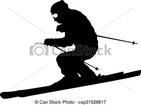 Vector Clip Art of Mountain skier speeding down slope. Vector.