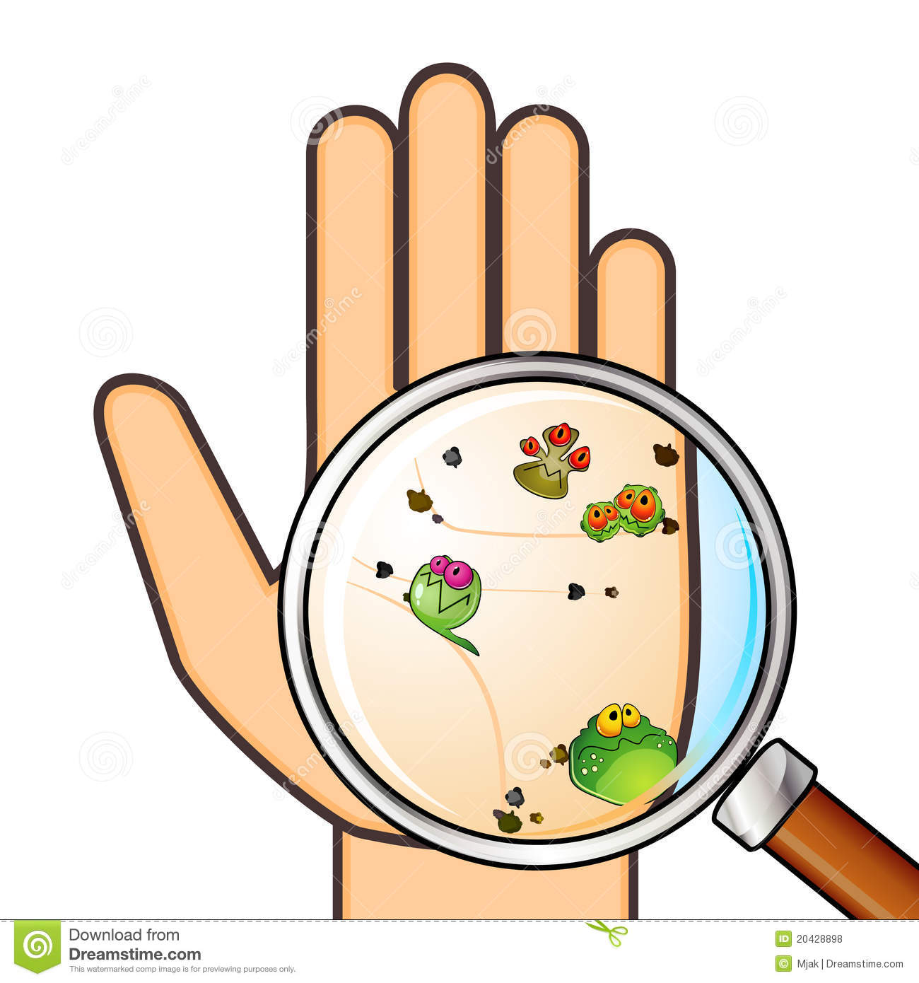 Germ on hands clipart.