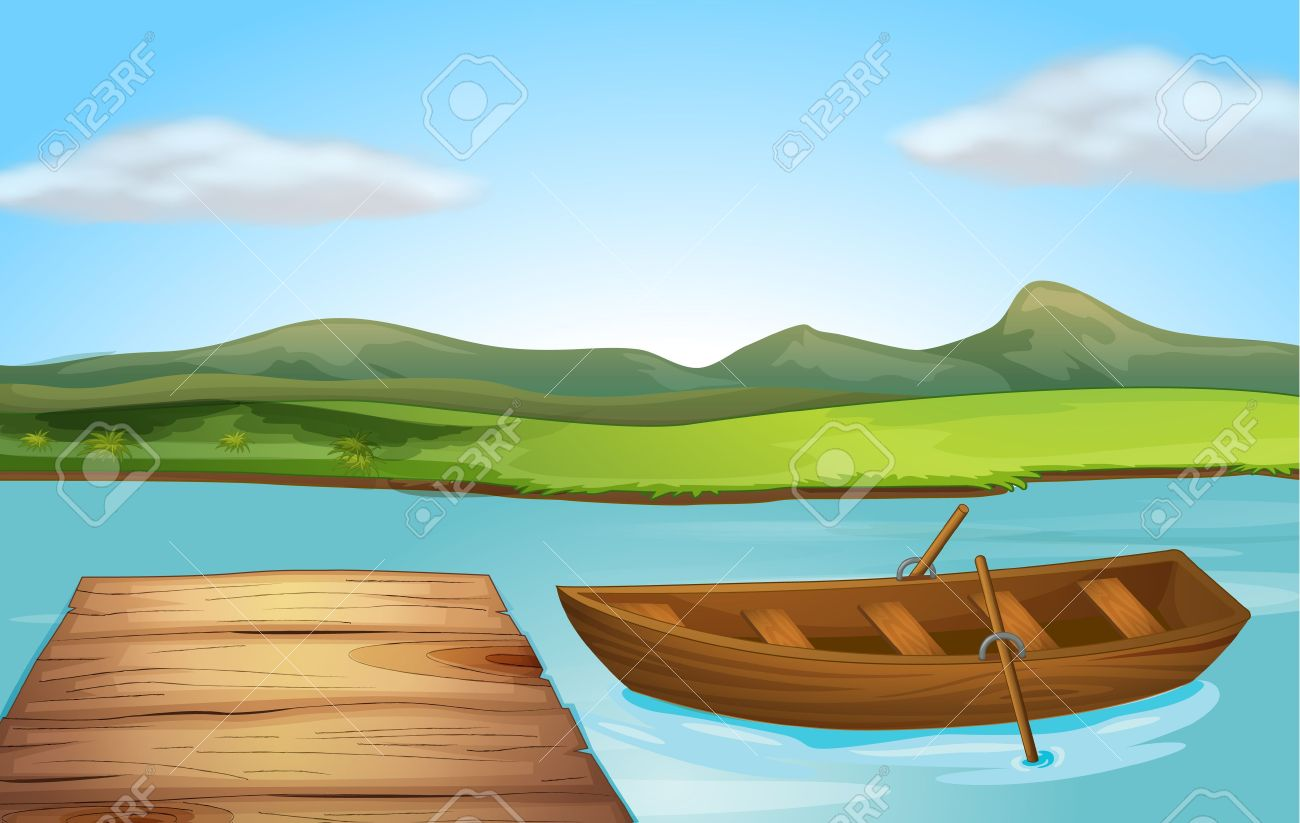 Illustration Of A Boat And A Landing Stage On A River Royalty Free.