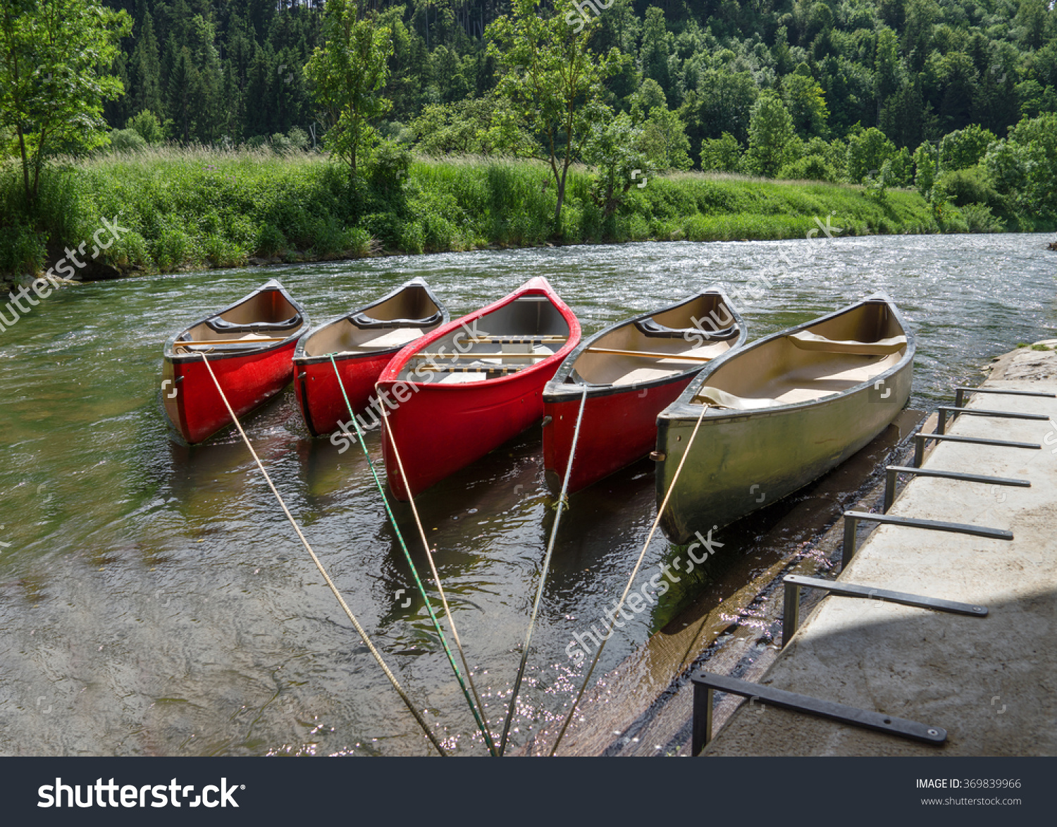 Five Tied, Empty Canoes Lie In A Row Next To Each Other In A River.