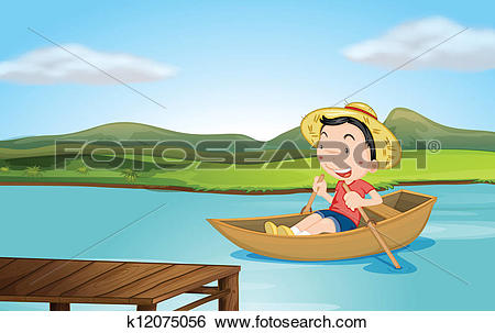 Clip Art of A boy rowing a boat k12075056.