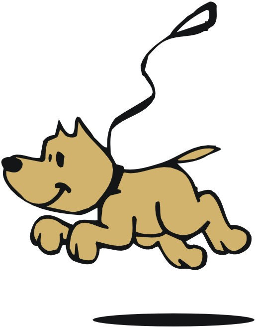 Dog on leash clip art.