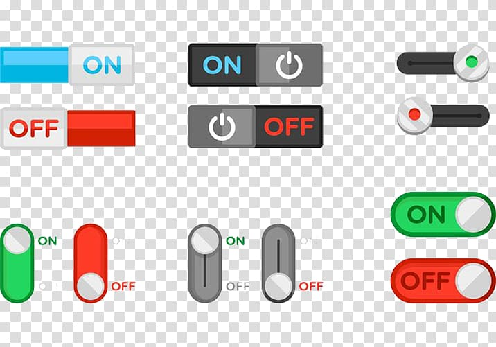 Assorted on and off switches illustration, Switch Push.