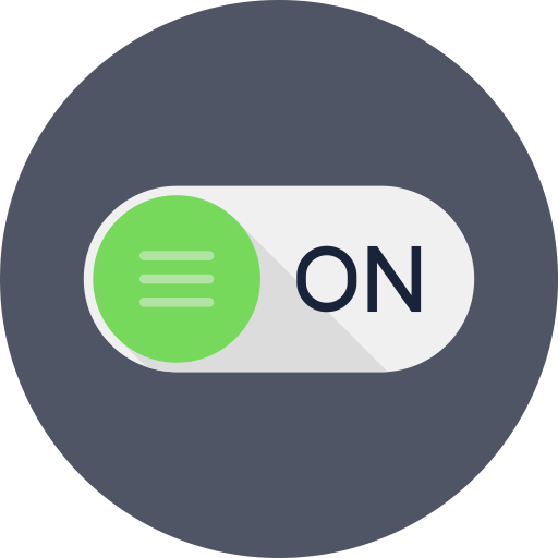 Form, input, level, on, power, rounded, switch icon.