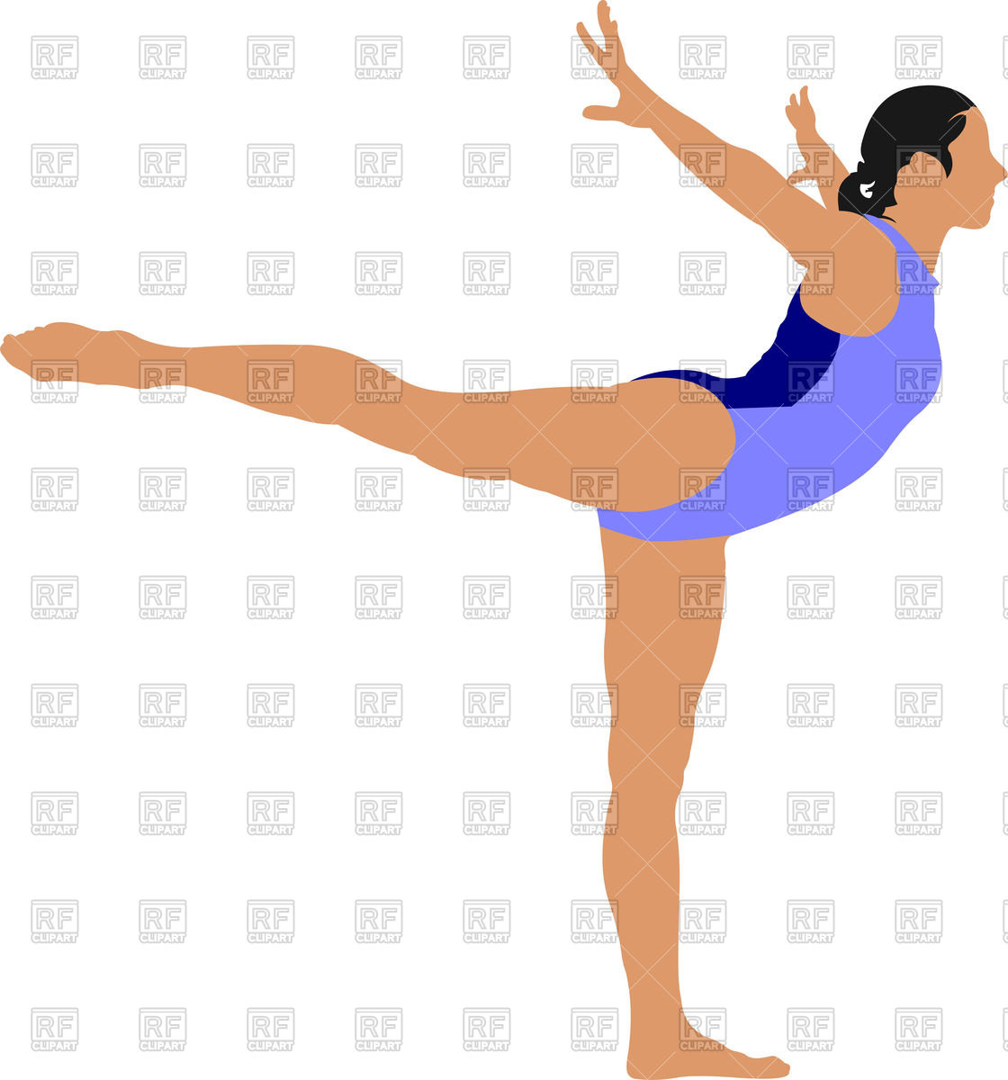 Woman gymnast standing on one leg Vector Image #51649.