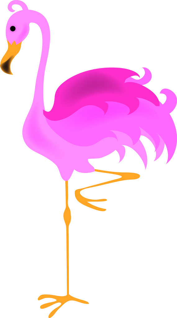 Clip Art Illustration of Pink Flamingo Standing on One Leg….
