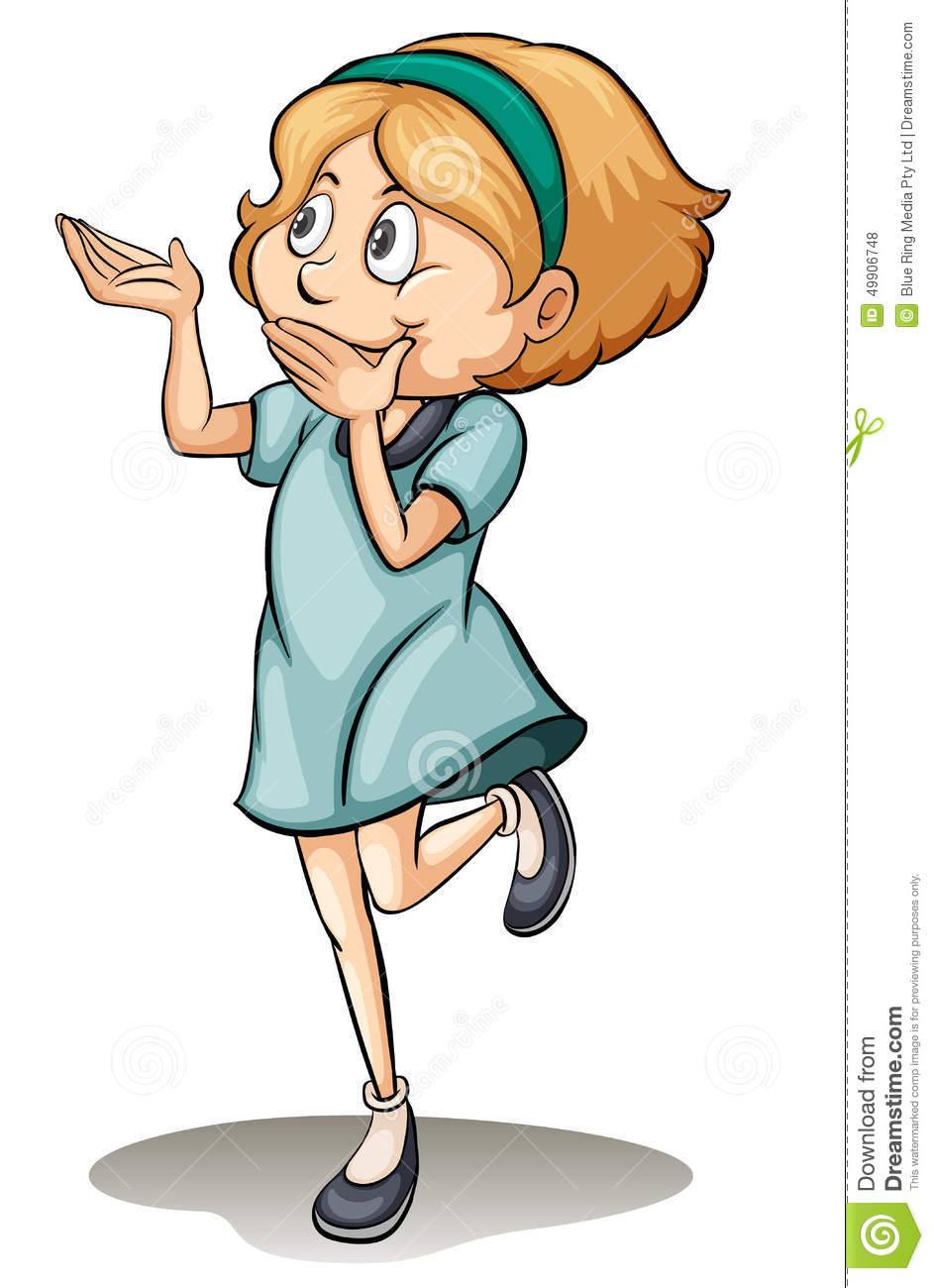 A Girl Standing On One Leg Stock Vector.