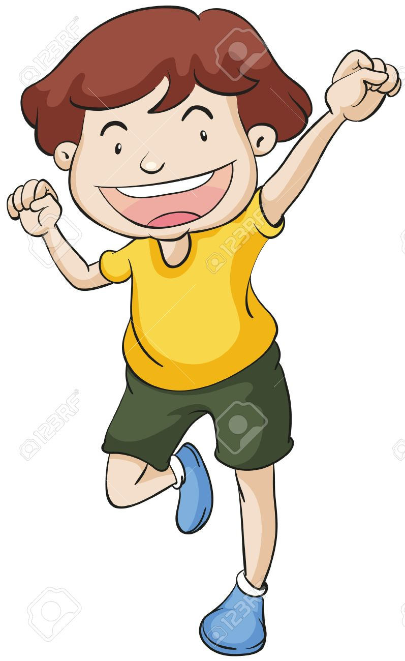 Clipart boy standing on one leg.