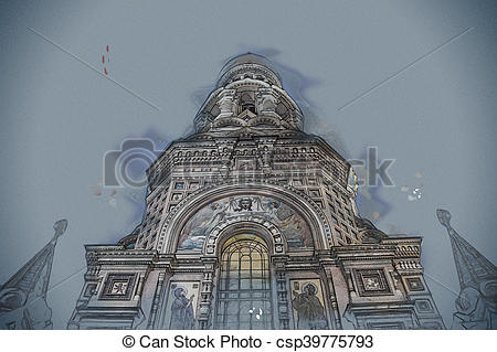 Stock Illustration of Church on Spilled Blood in Saint Petersburg.