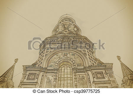 Clip Art of Church on Spilled Blood in Saint Petersburg, Russia.