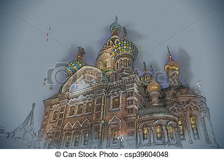 Drawing of Church on Spilled Blood in Saint Petersburg, Russia.