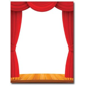 red theater curtain clipart #9
