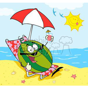 Cartoon Watermelon Holding A Glass With Juice On The Beach clipart.  Royalty.