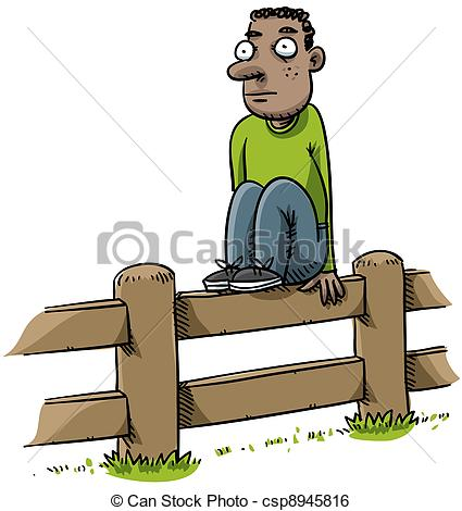 Stock Illustration of Fence Sitter.