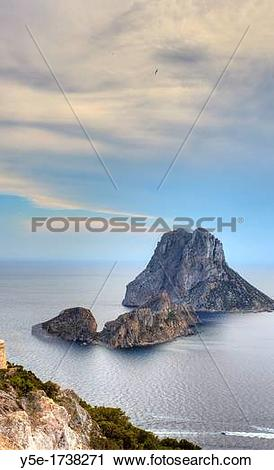 Stock Photography of Spain, Balearic Islands, Ibiza, Es Vedra.