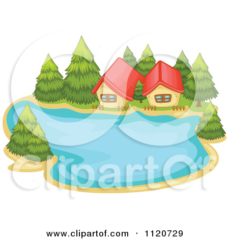 Clipart Landscape Background Of A Log By A Lake With Trees And.