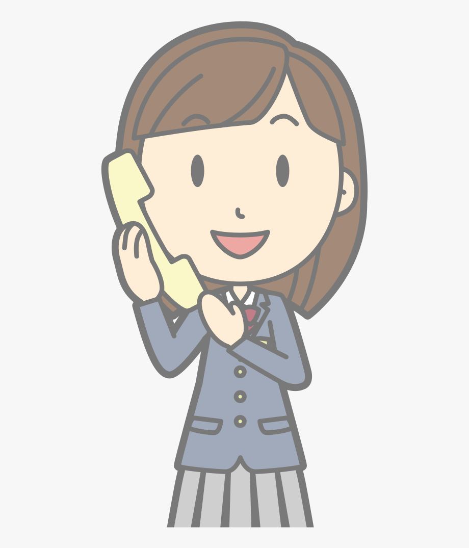 Female Using Telephone.