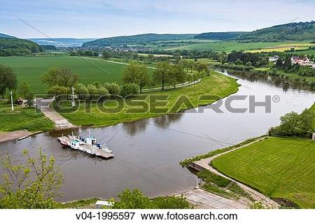 Picture of Reaction ferry on the river Weser in Polle, Lower.