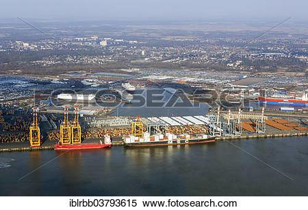 "Stock Image of ""Bremen City Seaport area, north port, port."