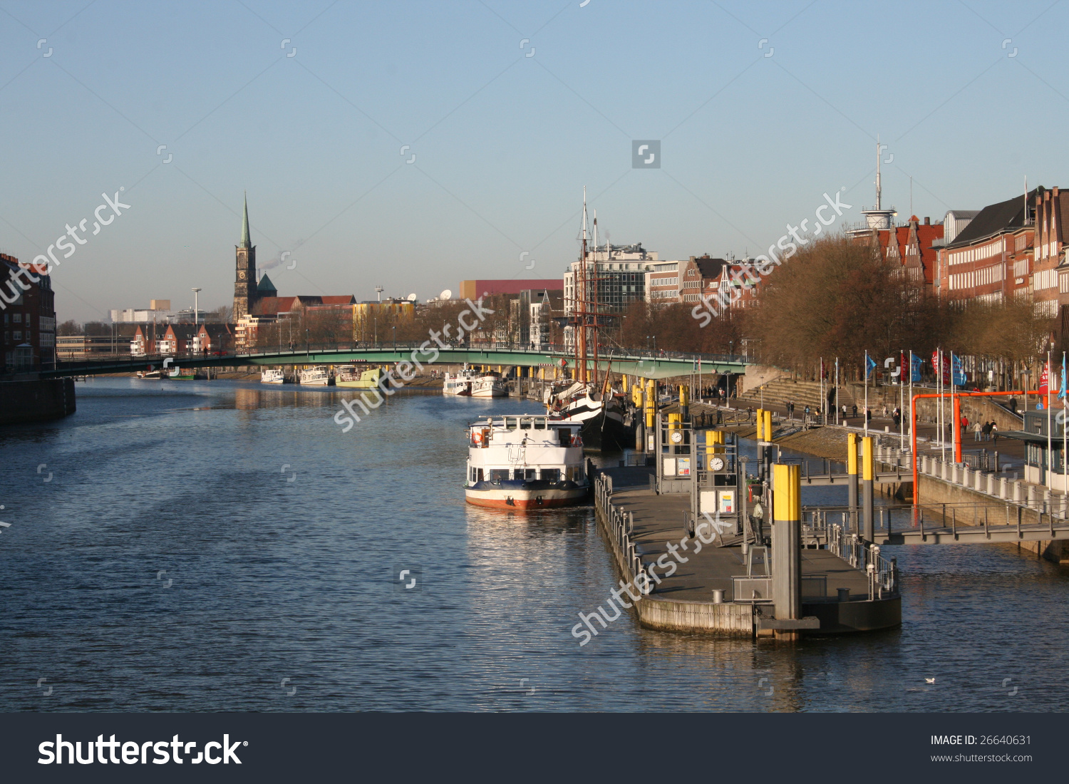 Panorama Of Weser River In Bremen, Germany Stock Photo 26640631.
