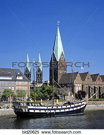 Stock Image of Germany,city of Bremen, River Weser, old ship.