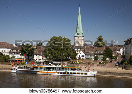 "Picture of ""Townscape with Weser river shore and Luther Church."