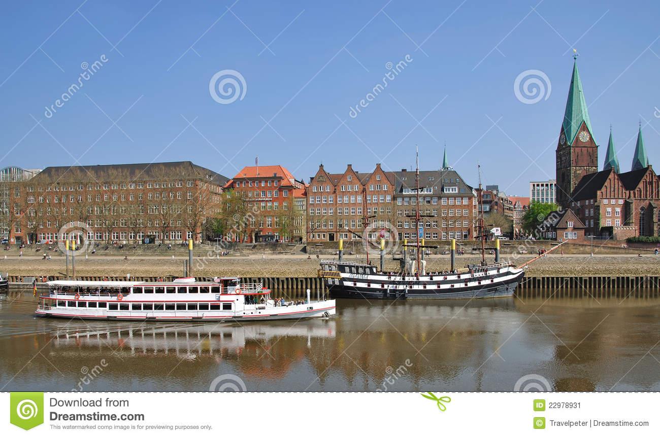 Promenade,River Weser,Bremen,Germany Stock Image.