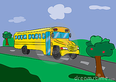 Bus on road clipart.