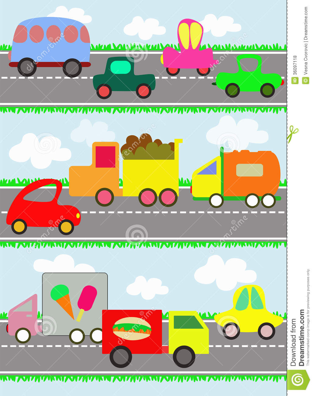 Vehicles On Road Clipart.