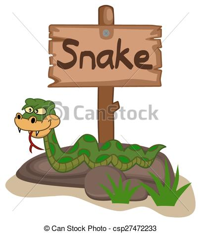 Vectors of snake on a rock with panel csp27472233.
