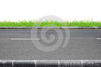 Road Between Trees And Grass On Roadside Stock Photo.