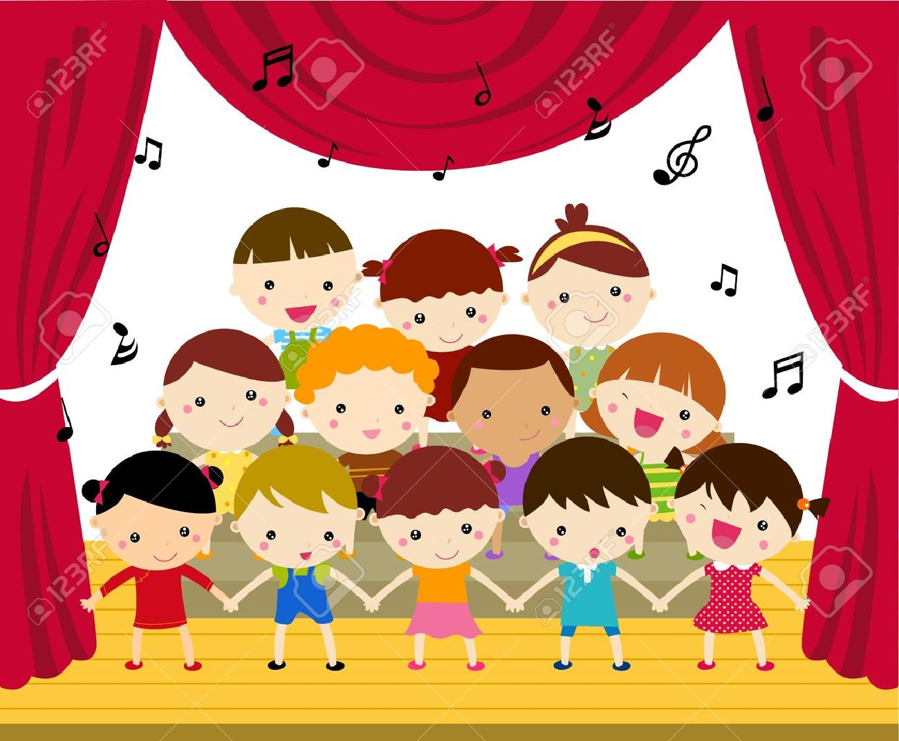 Children's Choir Performing On Stage Royalty Free Cliparts.