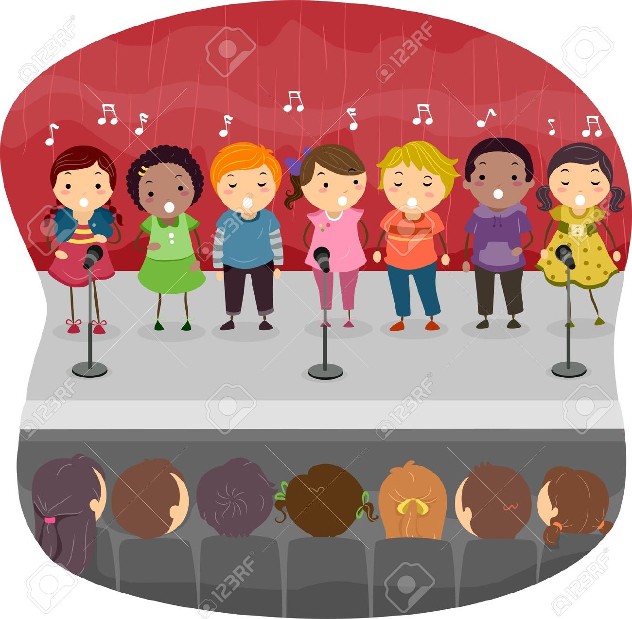 Kids on stage clipart.
