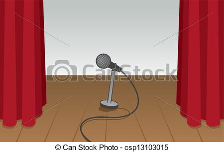 Vector Clip Art of Microphone Empty Stage.