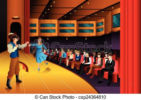 Vector Clip Art of People performing on a stage.