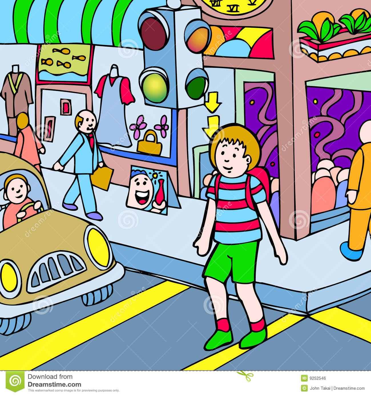 Little boy walking on the street clipart.